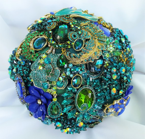 FULL PRICE on CUSTOM Made Bridal Brooch Bouquet Peacock Wedding Broach Bouqet Cobalt Blue Teal Turquoise Gold Royal Blue