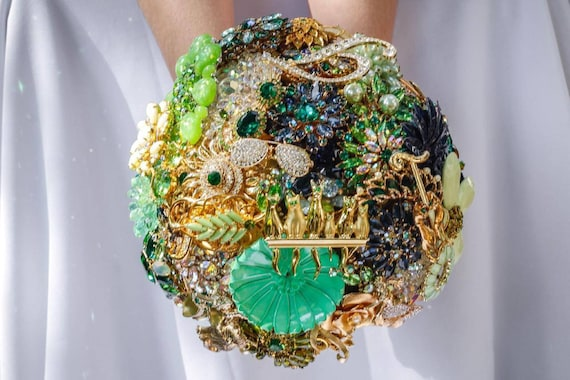Large Assembly Service Brooch Bouquet Custom Made Jewelry Bouqet Emerald Green Navy Royal Blue Gold Crystal Wedding