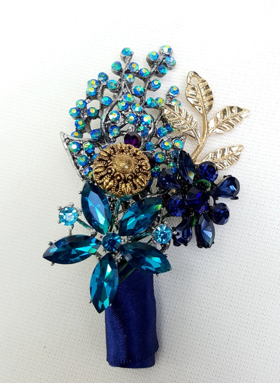 CUSTOM ORDER Brooch Bouquet Wedding Corsage / Boutonniere Grooms Groomsmen Pin Peacock Navy Blue Teal Gold Green Purple Any Colors