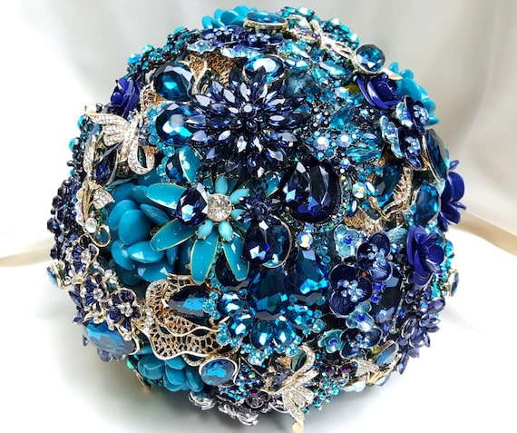 DEPOSIT on Brooch Bouquet CUSTOM MADE Bridal Broach Bouqet Peacock Wedding Navy Blue Gold Teal Crystal Turquoise