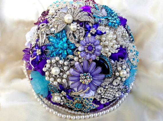DEPOSIT on a CUSTOM MADE Bridal Brooch Bouquet Aqua Crystal Turquoise Blue Purple White Semi Cascading Pearls Broach Bouqet Satin Roses