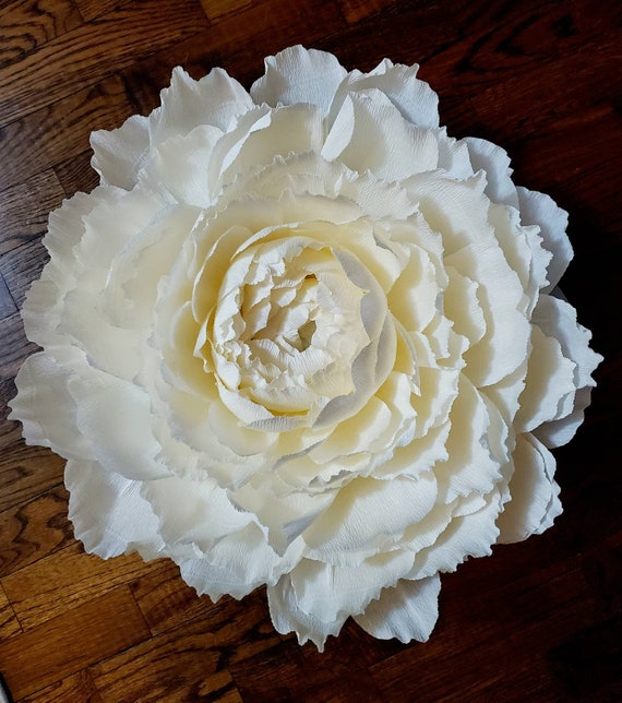 Custom Order Giant Crepe Paper Flower Large Peony Ivory White Cream Baby Room Wall Mounted Wall Decor