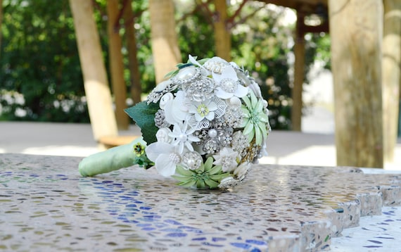 DEPOSIT ON Custom Order Mint Seafoam Green White Ivory Silver Brooch Bridal Bouquet