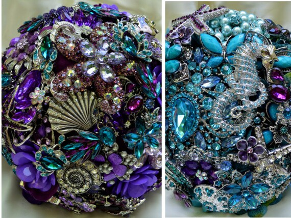 DEPOSIT on Bridal Brooch Bouquet Package Beach Wedding Purple Teal and Silver Broach Bouqet Turquoise Aqua Eggplant Blue Lavender