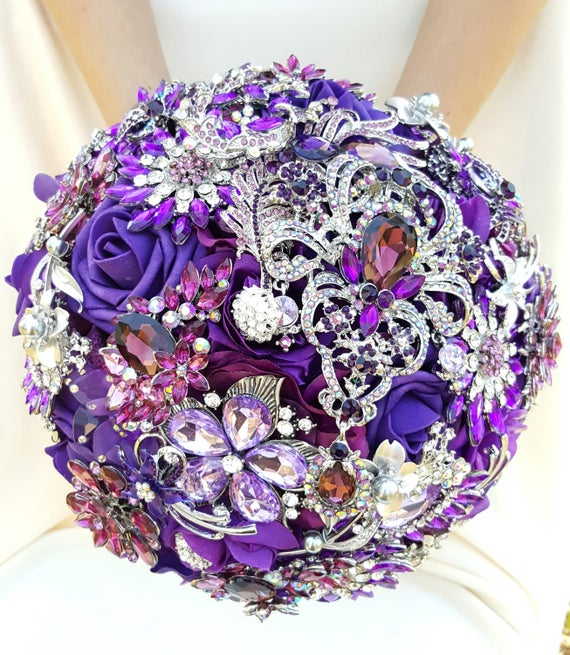 SALE! Ready to SHIP Full Price LARGE Bridal Brooch Bouquet Purple Eggplant Lavender Silver Crystal Wedding Broach Bouqet