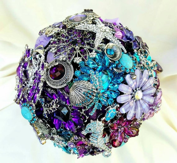 DEPOSIT on a Completely Custom Charm Bridal Brooch Bouquet Beach Wedding Purple Silver Lavender Teal Turquoise Blue Crystal Broach Bouqet