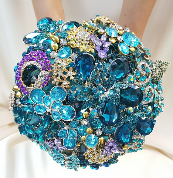 DEPOSIT on Brooch Bouquet CUSTOM MADE Bridal Broach Bouqet Peacock Wedding Blue Green Gold Teal Crystal Turquoise