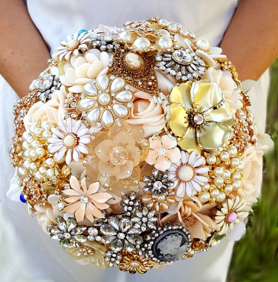 FULL PRICE Large Brooch Bouquet Champagne Cream Gold Rose Ivory Crystal Peach Blue Pink Teal CUSTOM Bridal Broach Bouqet