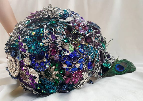 DEPOSIT on CUSTOM MADE Bridal Brooch Cascading Bouquet Purple Royal Blue Teal Silver Green Royal Purple Broach Peacock Wedding Bouqet