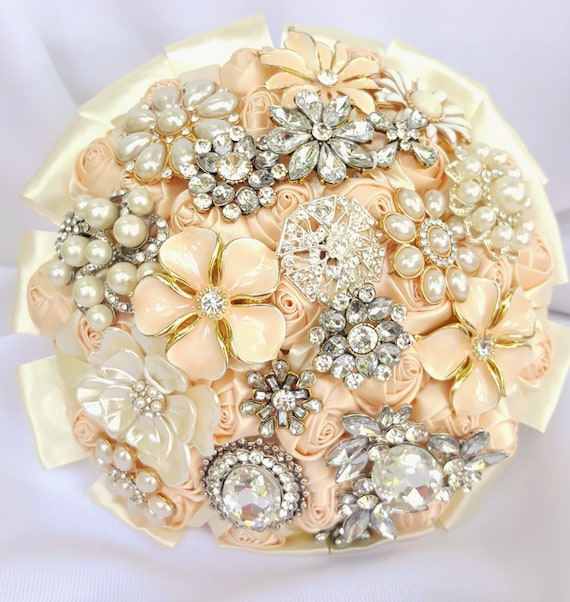 SALE! FULL PRICE Ready to Ship Satin Rose and Brooch Bouquet Peach Cream Champagne Ivory Crystal