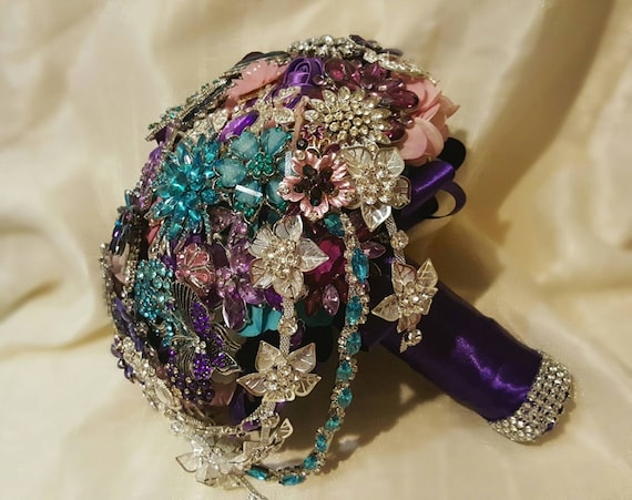 DEPOSIT on a CUSTOM MADE Bridal Brooch Bouquet Aqua Crystal Turquoise Blue Pink Purple White Semi Cascading Wedding Broach Bouquet