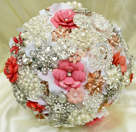 DEPOSIT ON Brooch Bouquet Custom Bridal Broach Bouqet White Silver Pearl Coral Peach Salmon Pink Purple Gold Blue Mint Green Crystal Clear