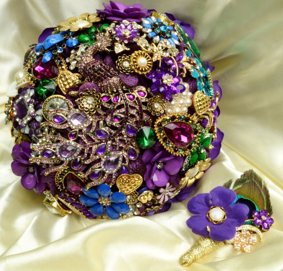 DEPOSIT ON Peacock Bridal Brooch Bouquet Purple and Gold Broach Bouqet Emerald Green Blue Teal Turquoise Pearl
