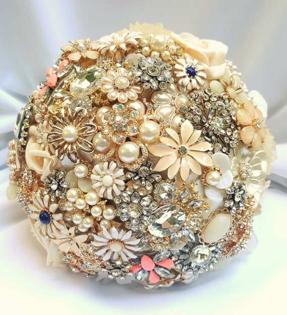 DEPOSIT on a CUSTOM MADE Bridal Brooch Bouquet Navy Blue Coral Peach Cream Gold Champagne Pearl Crystal Broach Bouqet