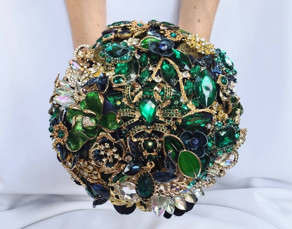 FULL PRICE on CUSTOM Made Bridal Brooch Bouquet Wedding Broach Bouqet Navy Blue Gold Midnight Blue Emerald Hunter Green Bouqet