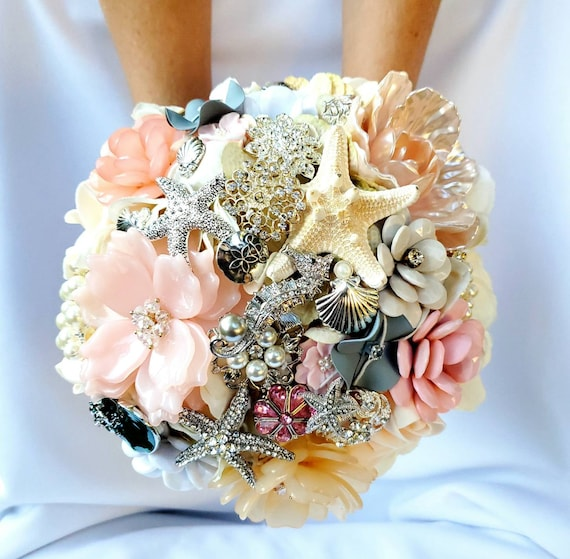 FULL PRICE Large Flower and Brooch Bouquet White Ivory Cream Silver Pearls Pink Peach Blush Coral and Groom Boutonniere CUSTOM Bridal Bouqet