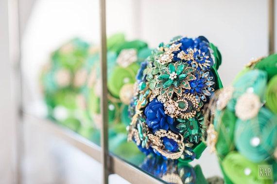 FULL PRICE on CUSTOM Made Bridal Brooch Bouquet Wedding Broach Bouqet Cobalt Blue Gold Royal Blue Emerald Green Bouqet