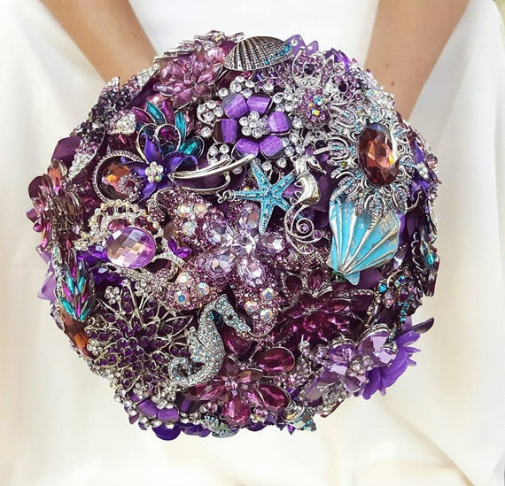 DEPOSIT on Brooch Bouquet CUSTOM MADE Bridal Broach Bouqet Ocean Beach Sea Inspired Wedding Blue Aqua Silver Teal Crystal Turquoise