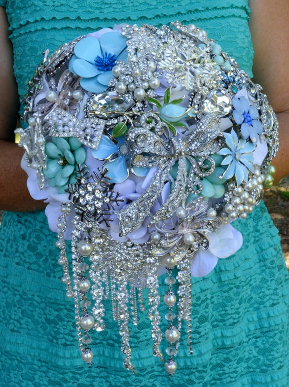 DEPOSIT on CUSTOM MADE Bridal Brooch Bouquet Cascading Winter Bouquet White Mint Seafoam Green Aqua Turquoise Pearl Crystal Snowflakes