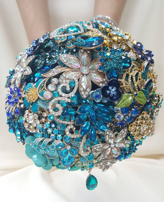 DEPOSIT on Brooch Bouquet CUSTOM MADE Bridal Broach Bouqet Peacock Wedding Blue Green Gold Teal Crystal Turquoise Purple Crystal