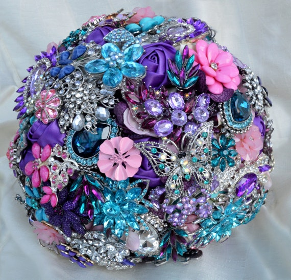 DEPOSIT on Brooch Bouquet CUSTOM MADE Bridal Broach Bouqet Pink Blue Silver Purple Teal Crystal Turquoise White