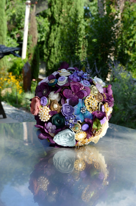 ASSEMBLY Full PRICE on CUSTOM Order Purple and Blue Lavender Gold Pearls Bridal Brooch Bouquet