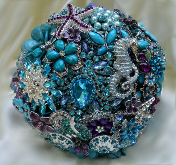 DEPOSIT on a Completely Customized Bridal Brooch Bouquet Beach Wedding Teal Silver Turquoise Blue Purple Lavender Crystal Broach Bouqet