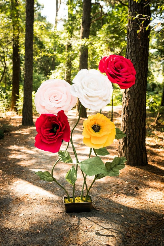 RENT or OWN Custom Giant Paper Self Standing Flower Large Peony Rose Poppy Flower Royal Teal Yellow Blue White Ivory Cream Pink Blue Green
