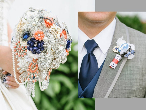 FULL PRICE Bridal Brooch Bouquet and Groom Brooch Boutonniere Package Custom Order Cascading Broach Bouqet Navy White Coral Orange Any Color