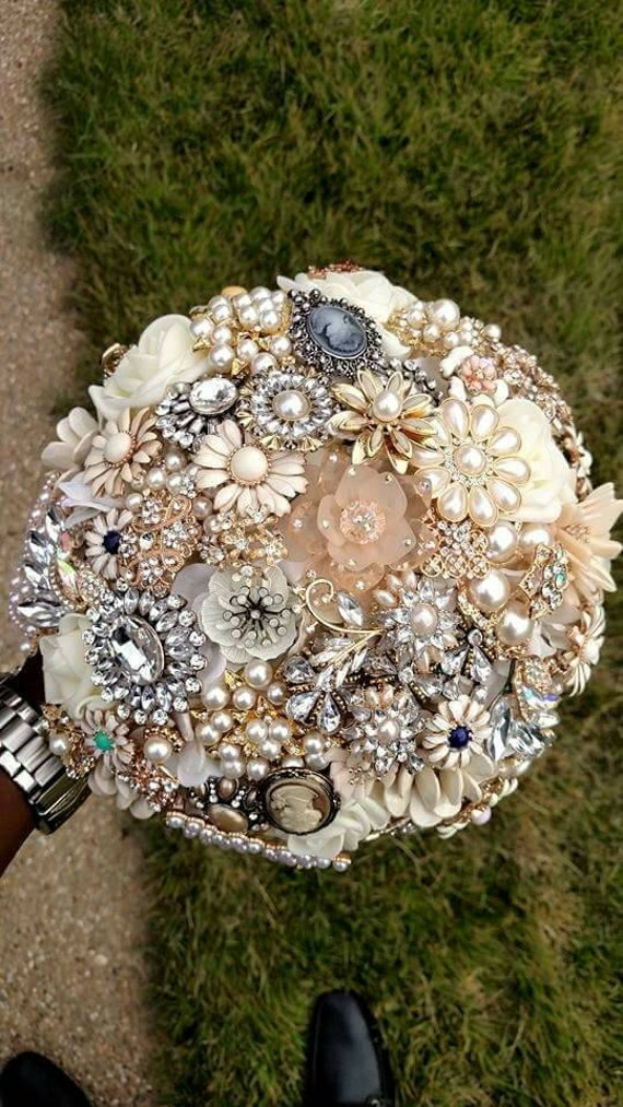 FULL PRICE Brooch Bouquet Champagne Cream Gold Silver Ivory Elegant Crystal Pearl CUSTOM Made Bridal Broach Wedding Bouqet