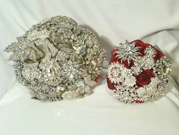 DEPOSIT ON Brooch Bouquet Package Bridesmaid Bouqet Custom Bridal Broach Bouqet Silver Clear Crystal Sparkly Bling Jeweled Bouqet Red Handle