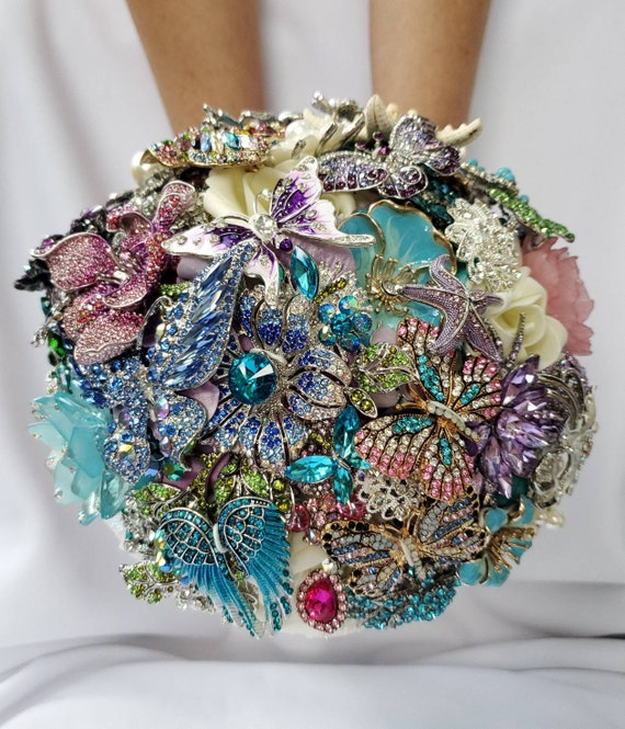 DEPOSIT on a Completely Customized Bridal Brooch Bouquet Beach Wedding Purple Silver Lavender Teal Turquoise Blue Pink Crystal Broach Bouqet