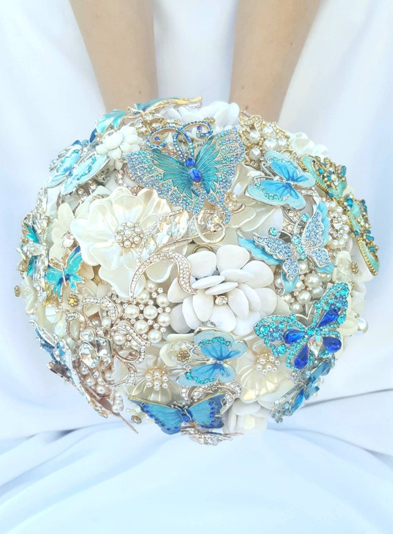 DEPOSIT on CUSTOM MADE Bridal Brooch Bouquet Wedding Butterfly Broach Bouqet Teal Turquoise White Ivory Rose Gold