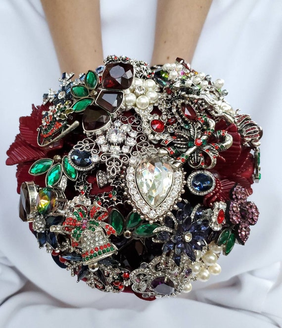 FULL PRICE Christmas Winter December Wedding Bridal Brooch Bouquet Burgundy Red Silver Green Pearl Navy Blue Purple Snowflake Broach Bouqet