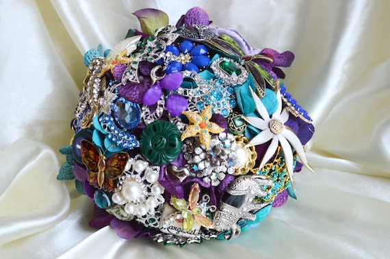 ASSEMBLY SERVICE FULL Price Custom Peacock Bridesmaid Bridal Brooch Bouquet Purple Teal Green Royal Blue Turquoise Seahorse Starfish Pearls