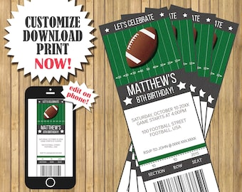 Football Ticket Birthday Invitation Party 25x7 Edit NOW With Corjl INSTANT DO