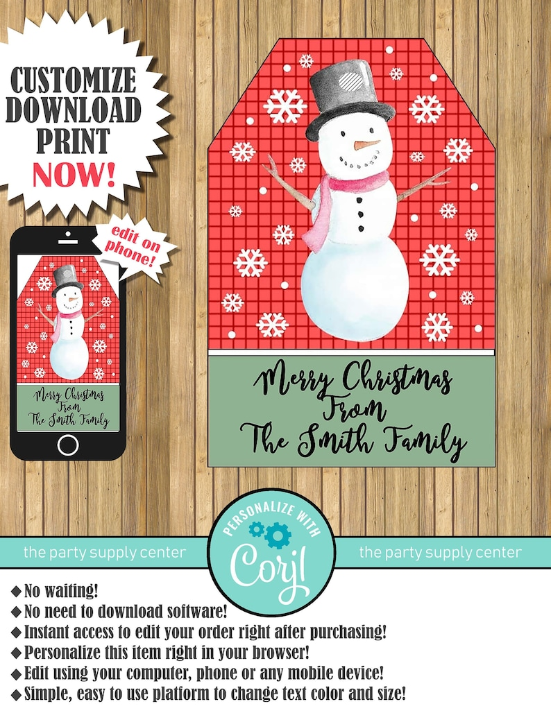 Snowman Gift Tags Christmas Snowman Gift Tags Christmas Gift Tags Snow Gift Tags Edit Now With Corjl Instant Download Printable 2 X3