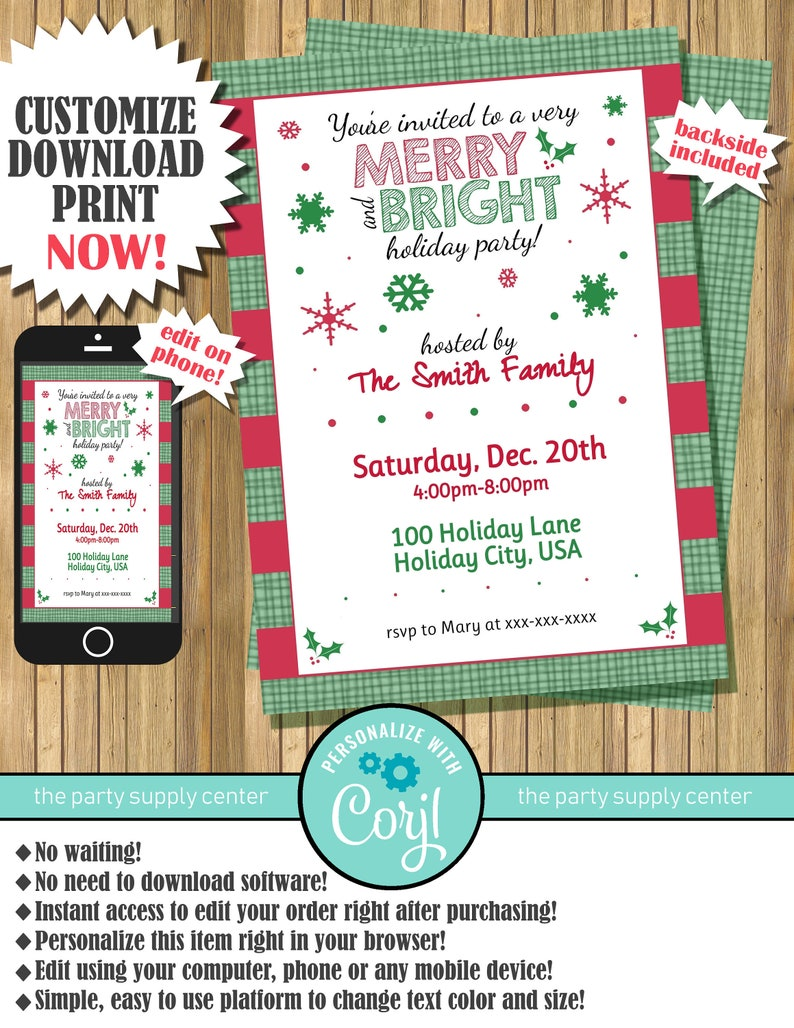 Merry and Bright Christmas Party Invitations