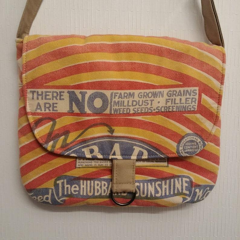 Rare vintage Hubbards  Sunshine feed sack upcycled messenger