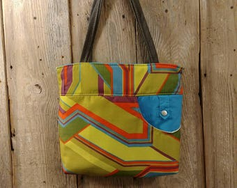 Funky bright Upholstery remnant, Recreated 6 pocket tote