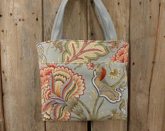 Upholstery remnant, Recreated four pocket tote and zipper pouch