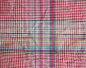 Vintage 50s Cotton Madras Plaid BTY Beautiful Primary Colors Quilt Weight Woven Classic Country Western Cowboy Material House Dress CBF