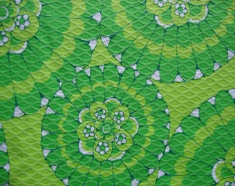 Vintage 60s Lime Green Daisy Flower Pique Fabric Mid Century Mod Large Scale Floral Print Home Decor Upholstery Heavy Textured Cotton CBF