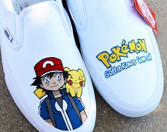 df6f862addc190 Custom Hand Painted Pokemon Ask   Pikachu Kaws Inspired Vans Slip Ons Men s  Size 11 New