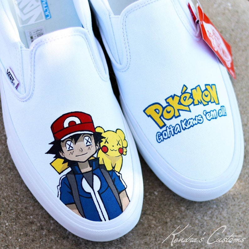 ab2ed6f20c59a2 Custom Hand Painted Pokemon Ask   Pikachu Kaws Inspired Vans