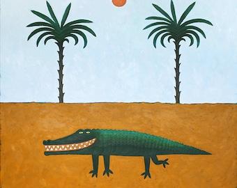 Crocodile Smile Poster Funny Print of Original Painting by Anna Grincuka, Naive Art