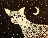 Original Painting Sacred Cat, Acrylic on Canvas Ornamental Wall Art