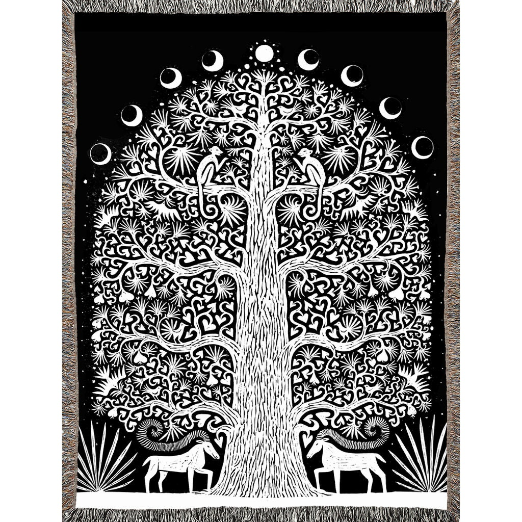 Floral werfen Decke schwarz und weiß Baum gewebt Decke