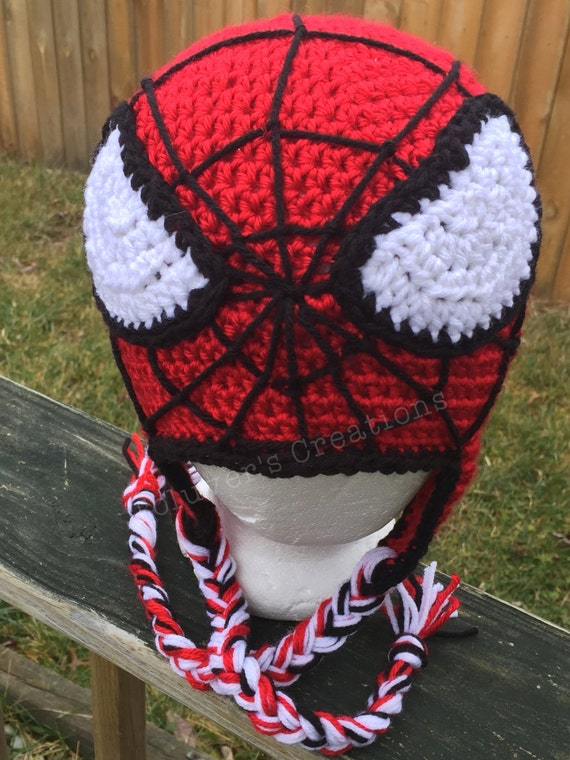 Spider Man Hat Crochet Pattern With Web Stitching Guide Etsy