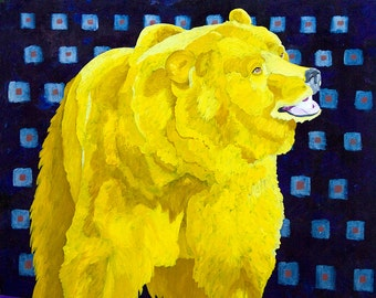 Grizzly Bear Small Giclee Print of Fine Art Acrylic Painting Yellow Purple Blue Vibrant Colorful Art